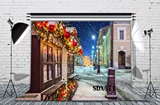 LB Christmas Streets Backdrop 9x6ft Polyester Fabric Village in The Snowy Winter Photo Backdrop for Xmas Eve Home Party Pictures Customized Photo Studio Background Props,Seamless Washable