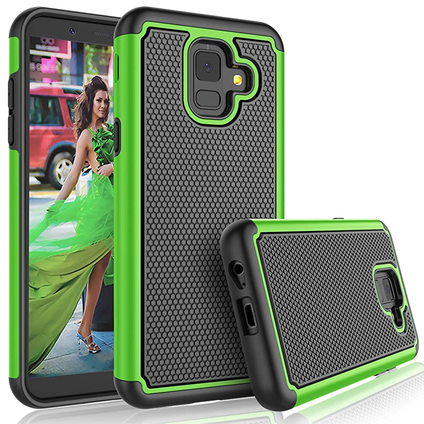Tekcoo Galaxy A6 Case, for AT&T Galaxy A6 Cute Case, [Tmajor] Shock Absorbing [Green] Rubber Silicone & Plastic Scratch Resistant Bumper Grip Rugged Sturdy Hard Phone Cases Cover