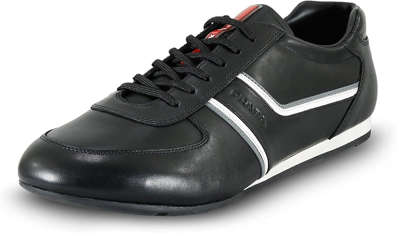 Prada Men's Plume Leather Sneaker, black Acciaio 4E2735