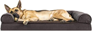 FurHaven Pet Dog Bed   Memory Foam Faux Fleece & Chenille Soft Woven Couch Sofa-Style Pet Bed for Dogs & Cats, Coffee, Jumbo