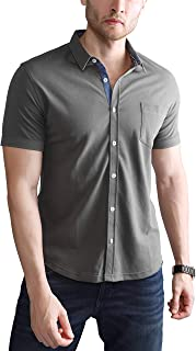 Dream of Glory Inc. Men's Plus Size Short Sleeve Breathable Perfect Pique Soft Cotton Collar Shirts for Men with Pocket and Chambray Buttoned Down Placket : XS-9XL (Pack of 1,2 or 3)