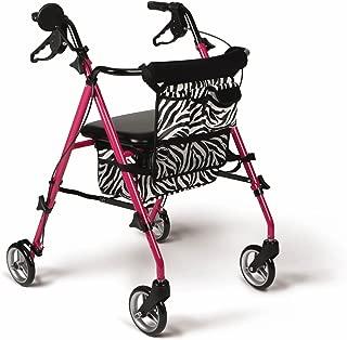 Medline Posh Premium Lightweight Foldable Aluminum Rollator Walker with 6 Inch Wheels, Pink