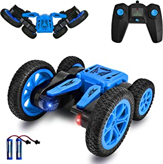 Remote Control Car, RC Stunt Car for Kids, 4WD 2.4GHz 360 Degree Flips Double Sided Rotating Tumbling Racing Car with LED Lights RC Toys for Boys Girls Adults Blue