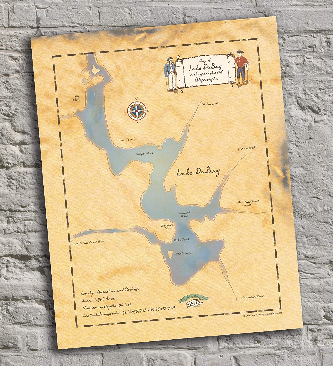 Lake NEW High material DuBay - Wisconsin Vintage-Inspired Poster Print Map