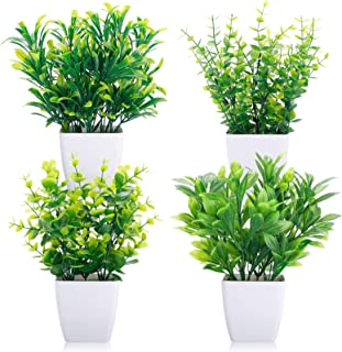 CEWOR 4 Packs Artificial Mini Potted Plants Fake Greenery Eucalyptus Plastic Pot Centerpiece for Home Office Desk Table In...