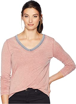 Bowery Burnout Long Sleeve V-Neck with Contrast Trim