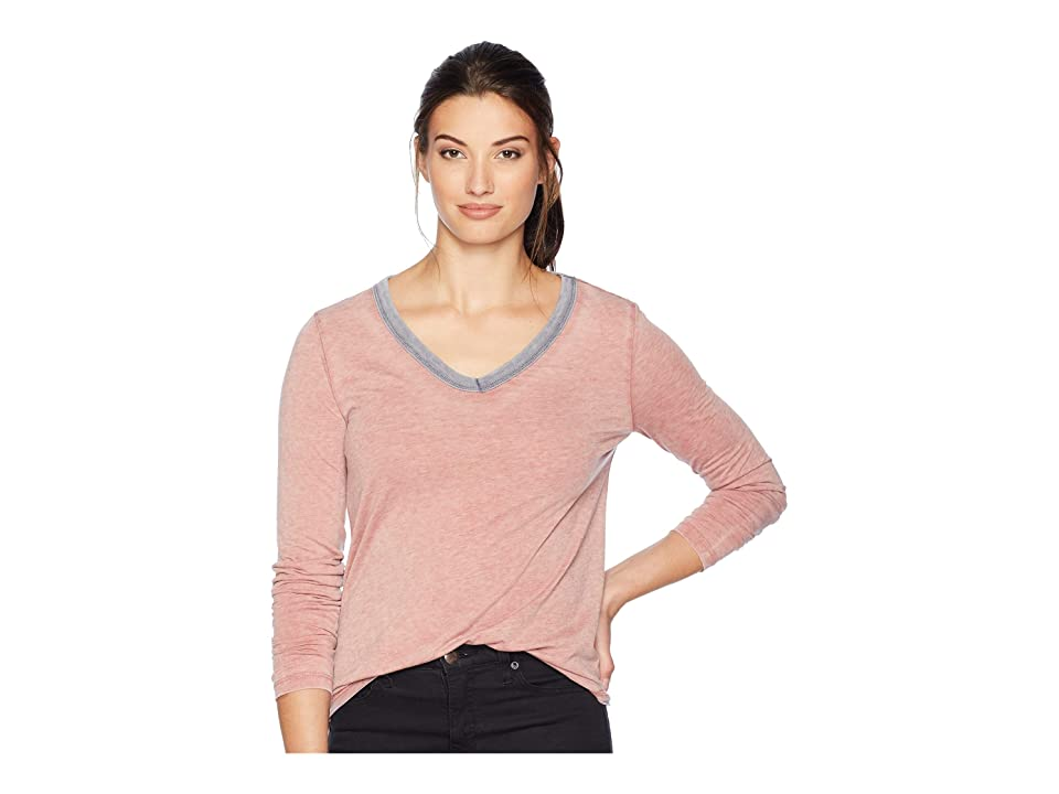 Dylan by True Grit Bowery Burnout Long Sleeve V-Neck with Contrast Trim (Vintage Papaya) Women