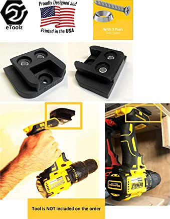 DeWALT V20 20V Lithium Ion Cordless power tools Stealth Mount hanger from battery slot Black by eToolz (2 packs) best gift for fathers