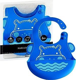 Babador Em Silicone Hipopotamo, Marcus e Marcus, Azul, Pequeno