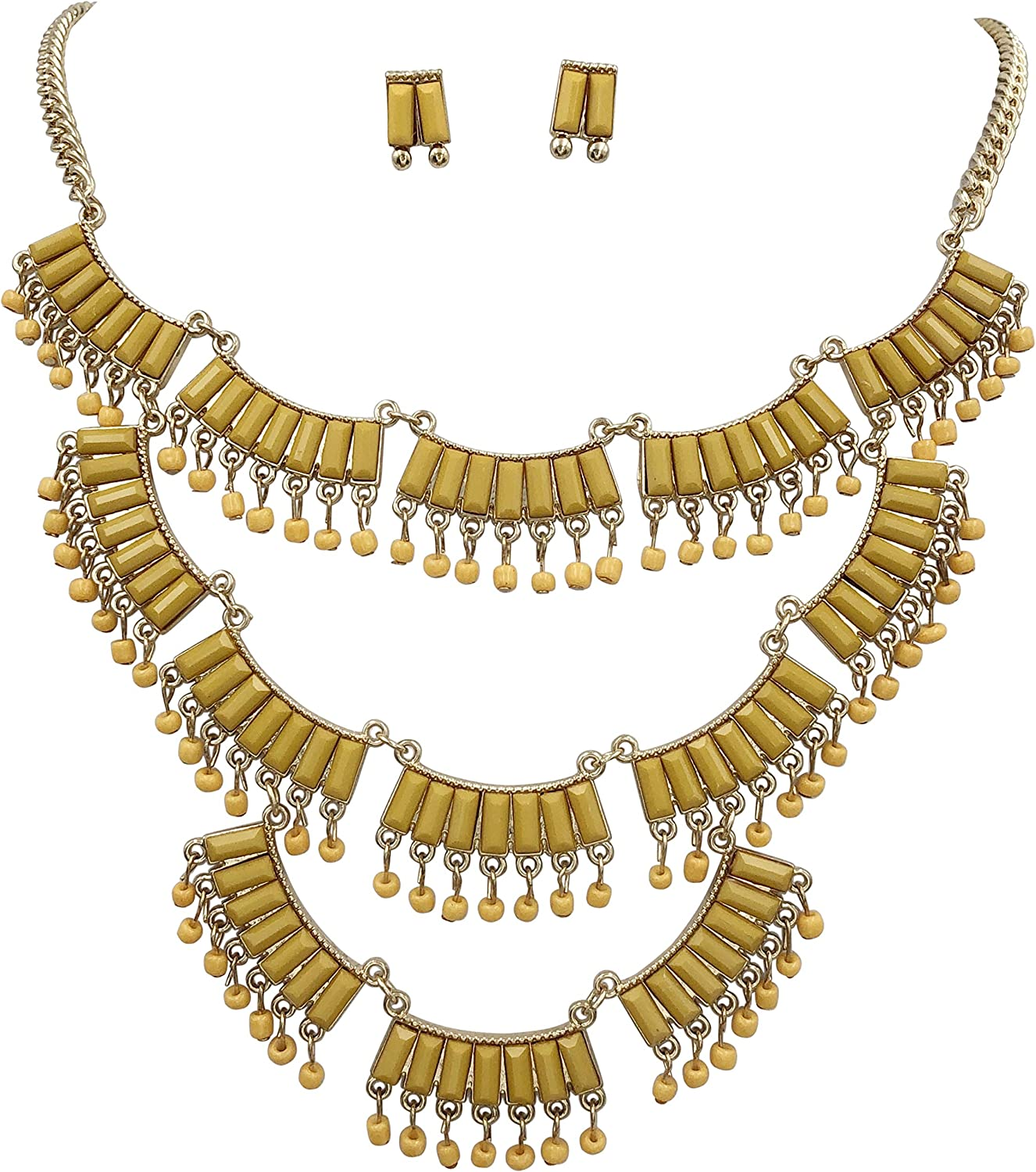 Gypsy Jewels 3 Row Color Bar Dangle Beads Gold Tone Unique Bib Statement Necklace & Earrings Set