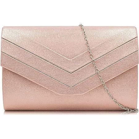 Milisente Damen Clutch, Handtasche Clutch Umschlag Crossbody schultertasche Clutch Tasche Abendtasche (pu Leder Roségold)
