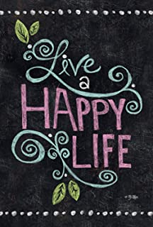 Toland Home Garden Happy Life Chalkboard 12.5 x 18 Inch Decorative Inspirational Double Sided Garden Flag