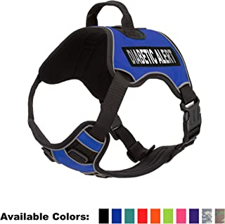 Dogline Quest No-Pull Dog Harness with Diabetic Alert Reflective Removable Patches Reflective Soft Comfortable Dog Vest with Quick Release Dual Buckles Black Hardware and Handle