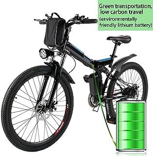Profun Bicicleta Eléctrica Plegable con Rueda de 26 Pulgadas, Batería de Iones de Litio de Gran Capacidad (36 V 250 W), Suspensión Completa Calidad y Engranaje Shimano