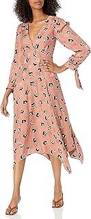 فستان Rebecca Taylor نسائي طويل الأكمام ذو حاشية متوسطة الطول من الحرير
