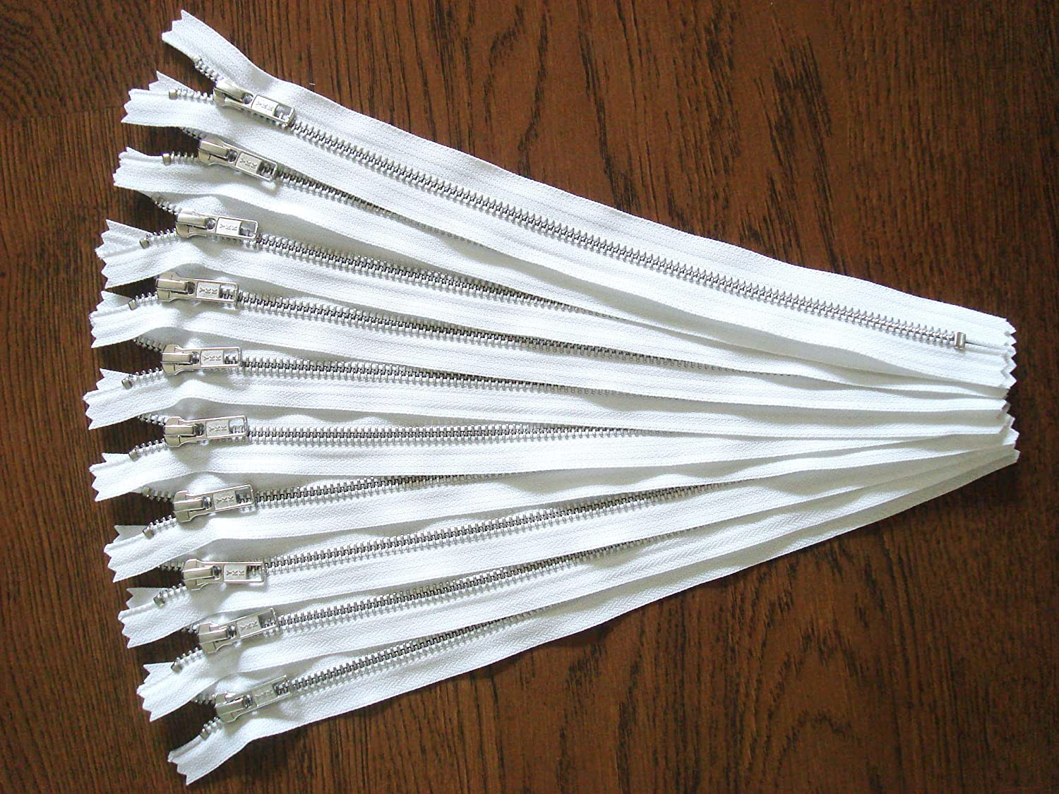 White Zippers 6 Inch YKK Metal Zippers in Silver No.5 Zippers for Bags Set of 12