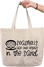 Seashells are love letters in the sand clam pearl beach shore Natural Canvas Tote Bag funny gift