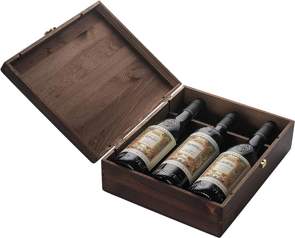 Domini veneti,collezione pruviniano,valpolicella,amarone e ripasso 0,75,3 vini pregiati in cassetta di legno DOMINI VENETI