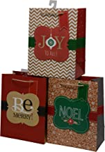Christmas Gift Bags Medium Size Kraft Paper with Twine Handle, Pop Up & Tag for Gift Giving on Holiday and Xmas Party Favors 7 x 9 x 4 (Set of 12)
