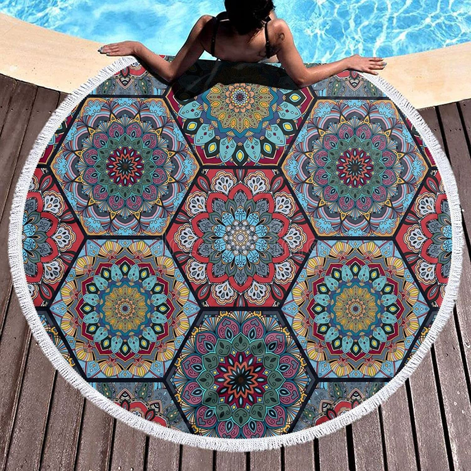 Limited time trial price Bohemian Hexagonal Patternmicrofiber Round Beach Max 76% OFF Large Tow Plush