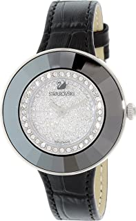 Swarovski Women's Black Leather Band Steel Case Quartz Silver-Tone Dial Analog Watch 5080506