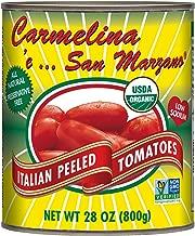 Carmelina San Marzano Organic Italian Whole Peeled Tomatoes in Puree, 28 ounce (Pack of 6)