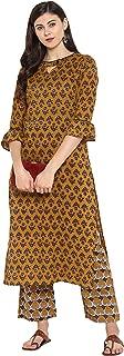 Janasya Women's Multicolor Cotton Floral Print Straight Kurta With Straight Pant