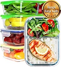 JinaMart [4Pack-35 oz] Large 1&2 Compartment Glass Meal Prep Containers Leak Proof..