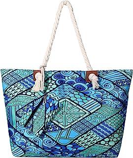 DonDon Große Strandtasche wasserabweisend mit Reißverschluss Ethno