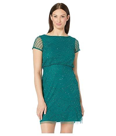 Adrianna Papell Short Sleeve Beaded Mesh Blouson Cocktail Dress (Dark Jade) Women