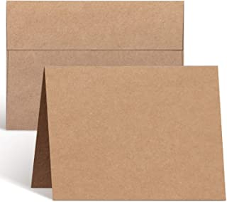 Blank Cards and Envelopes 100 Pack, Ohuhu 5 x 7 Heavyweight Kraft Paper Folded Cardstock and A7 Envelopes for DIY Valentin...