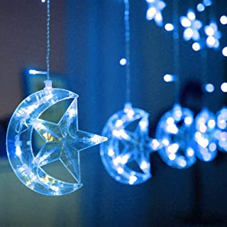 Led Star Curtain Lights, Moon Star String Light 138 LEDs 250CM Length with 8 Modes Plug in Fairy Lights Christmas Window Curtains Light for Home Decoration (Blue)