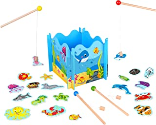 Toysters Wooden Fishing Toy Game for Toddlers | Fun Puzzle Board for Kids | Interactive Activity Games Keeps Children Entertained for Hours | Includes Magnetic Fishing Pole Rods and Cute Sea Animals