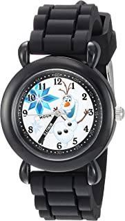 DISNEY Boys Frozen Olaf Analog-Quartz Watch with Silicone Strap, Black, 14 (Model: WDS000227