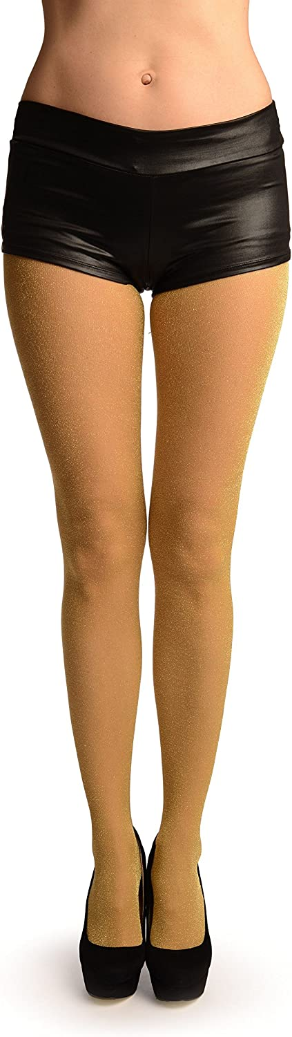 Beige With Gold Lurex Tights - Pantyhose (Tights)
