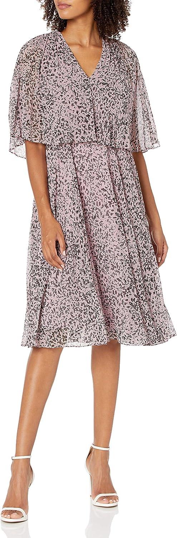 Halston Heritage Women's Pleated Printed Dress