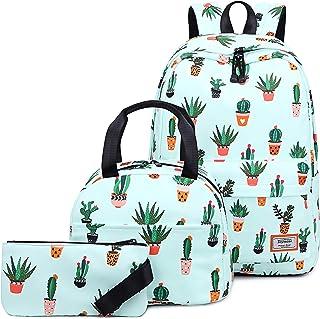 Bolso para Libros Resistente al Agua para Niña Adolescente con Bolsa de Almuerzo y Estuche Cactus