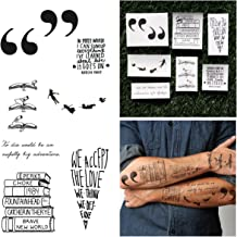 Tattify Literature Temporary Tattoos - Bookworm (Complete Set of 10 Tattoos) - Individual Styles Available - Fashionable Temporary Tattoos