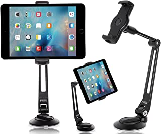 EverywhereFocus Tablet Stand Phone Holder Sticky Suction Cup Mount (4-11 in): Aluminum Adjustable Stand for iPad Pro 10.5/9.7 Air Mini, iPhone, Samsung Galaxy Tab, Nintendo Switch, Surface Go, Kindle