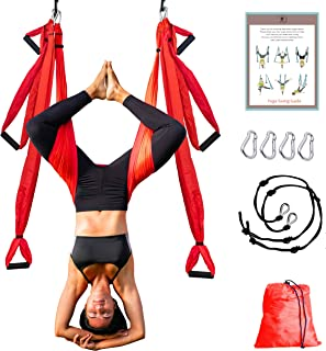 NeoHealth Aerial Yoga Hammock | Air Yoga Swing Kit | Premium Arial Yoga Silk Swing for Inversion Sling Exercise with 6 Extension Hanging Straps & Beginner Guide | Home & Outdoor Swing Set