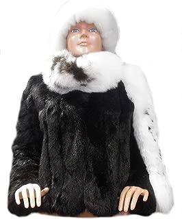 Alpakaandmore Womens Chinchilla Rabbit Fur Jacket Alpaca Fur Hat Scarf