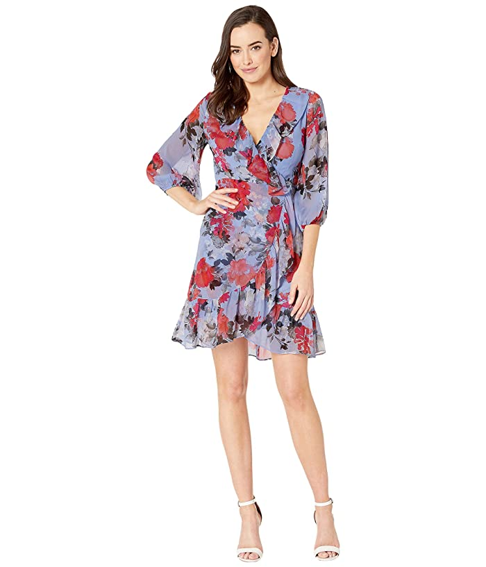 Adrianna Papell Coral Blossoms Faux Wrap Dress (Sky Blue Multi) Women