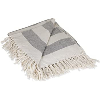 "DII Rustic Farmhouse Cotton Cabana Striped Blanket Throw with Fringe For Chair, Couch, Picnic, Camping, Beach, & Everyday Use, 50 x 60"" - Cabana Striped Gray"