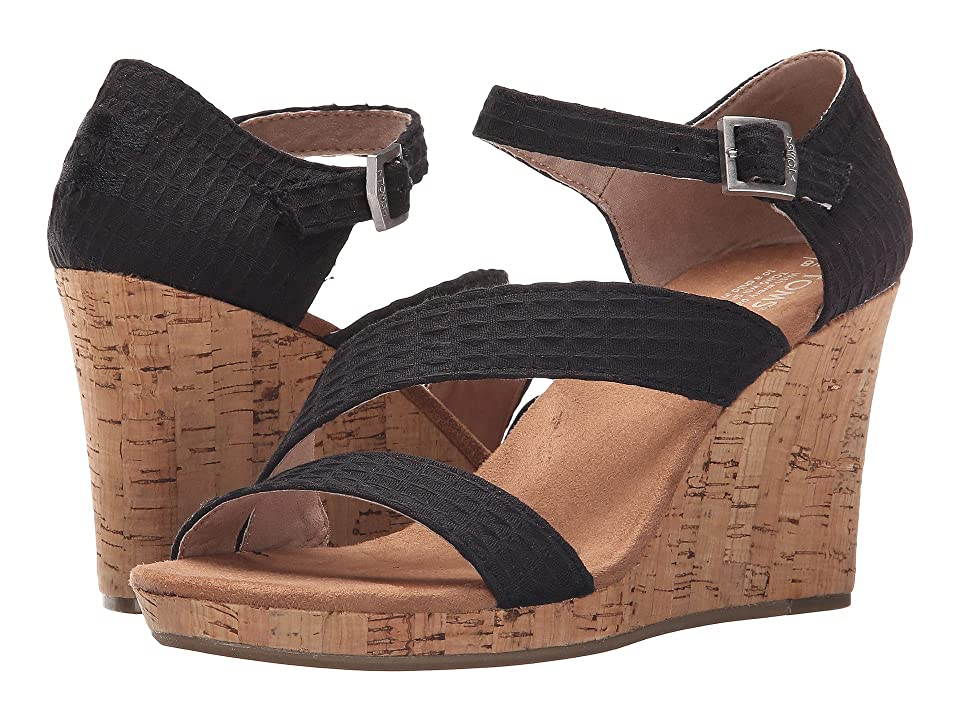 TOMS Clarissa Wedge (Black Textile/Cork) Women
