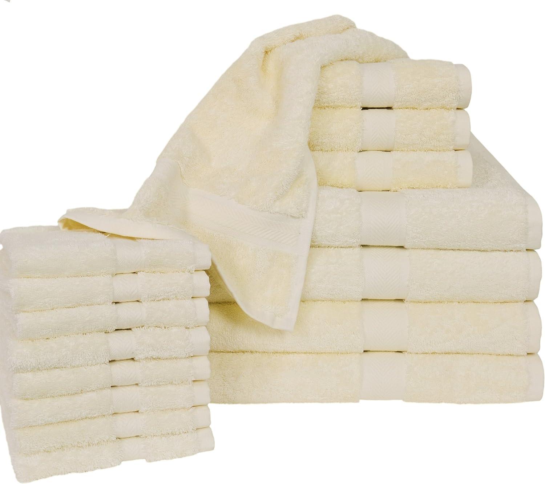 Homestead Textiles All American Cotton Line 100-Percent Pima 16-Piece Bath Towel Set, Ivory