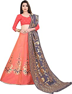 e2bcb8c135 Spangel Enterprise Art Silk Semi stitched Lehenga Choli with Dupatta  (OrangeGrey; Free size)