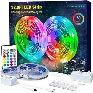 PANGTON VILLA Led Strip Lights 32.8ft with Remote and 3A Power Supply, SMD 5050 Color Changing LED Strip Light Kit for Room, Kitchen, Bedroom, Home Decoration Led Lights