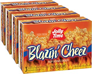 JOLLY TIME Blazin' Cheez   Spicy Cheddar Cheese Microwave Popcorn with Bold & Savory Flaming Hot Red Pepper & Chilli Flavor (3-Count Boxes, Pack of 4)