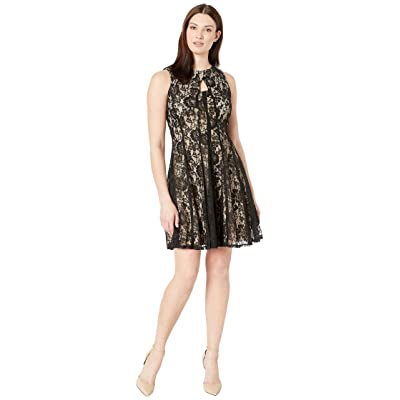 Gabby Skye Cut Away Neck Lace Dress (Black/Nude) Women