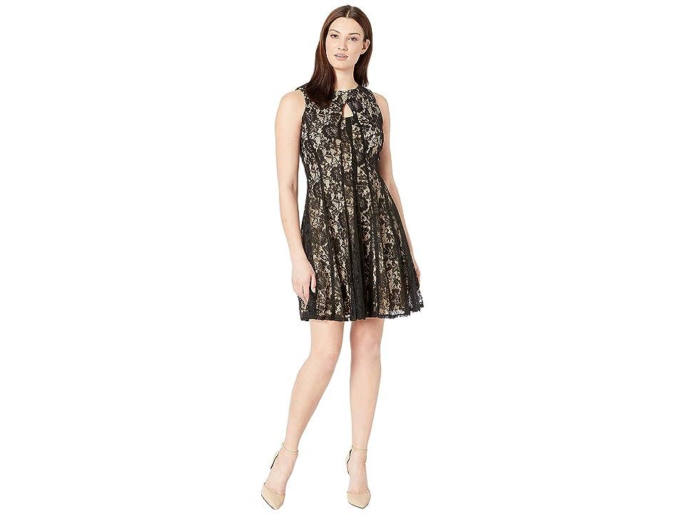 Gabby Skye Cut Away Neck Lace Dress (Black/Nude) Women